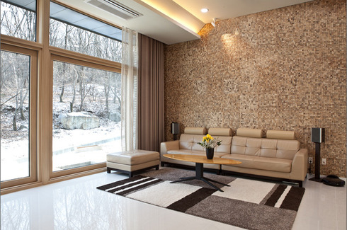 tiled feature wall living room | snsm155