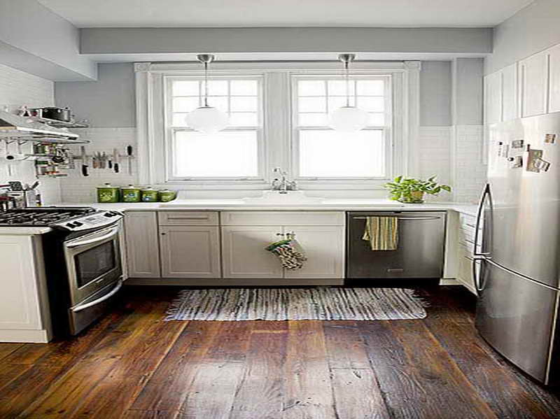 white kitchen cabinets floor color photo - 1