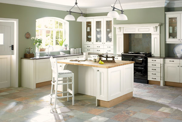 white kitchen cabinets floor color photo - 3