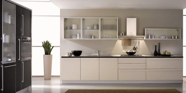 white kitchen cabinets frosted glass photo - 5