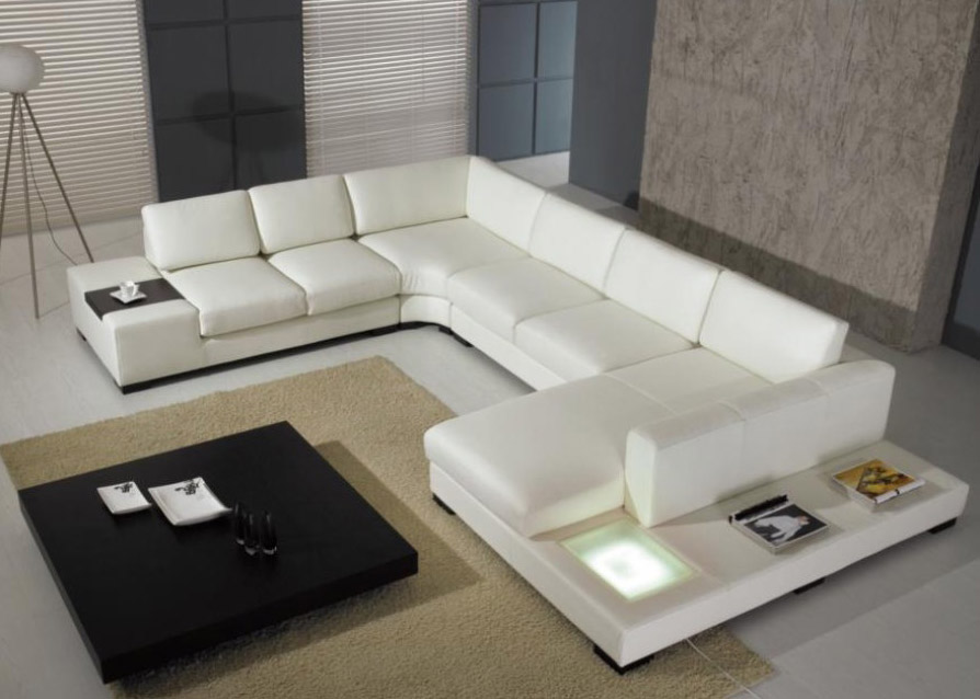 white modern sectional leather sofa photo - 2