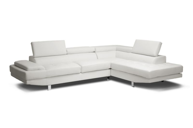 white modern sectional leather sofa photo - 3