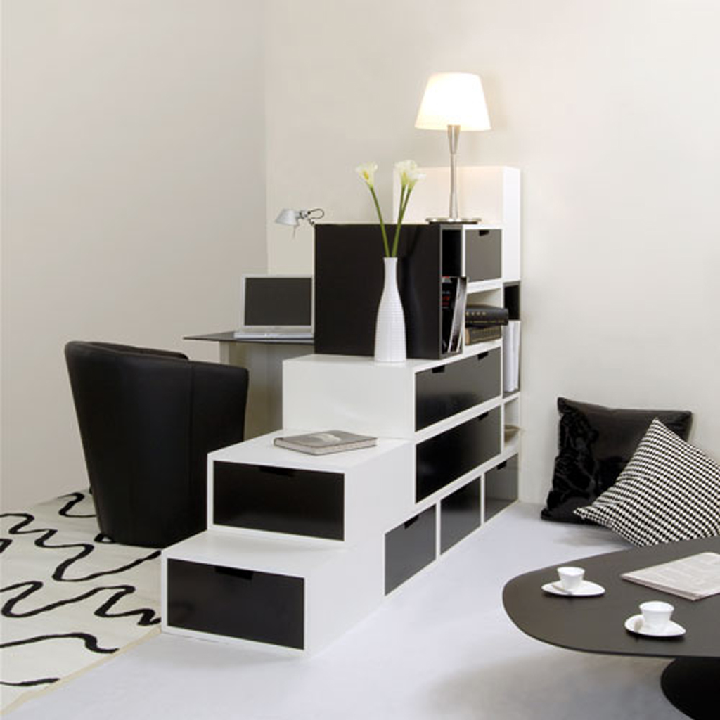 white room with black furniture photo - 1