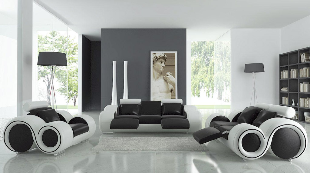 white room with black furniture photo - 5