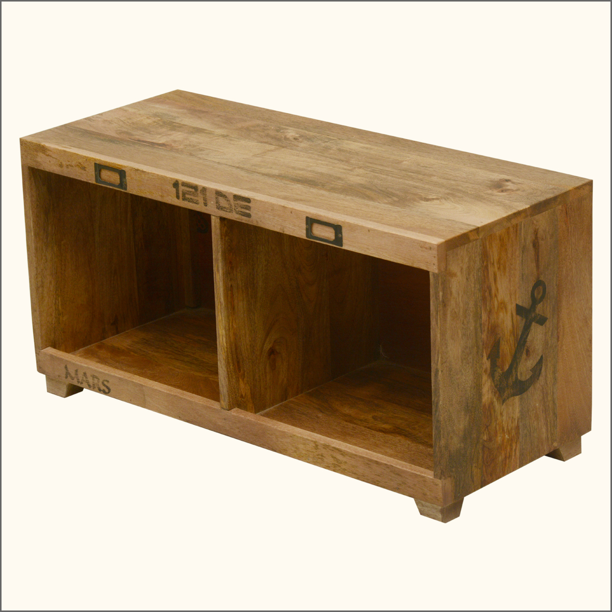 wood coffee table bench photo - 6