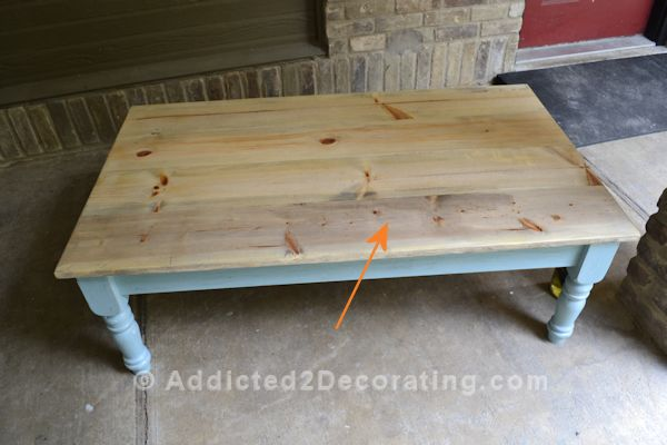wood coffee table makeover photo - 4