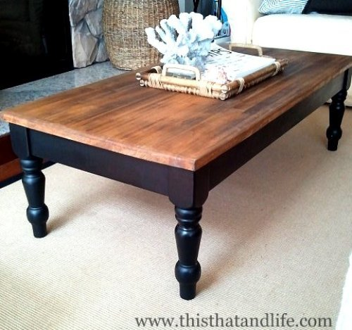 wood coffee table makeover photo - 5
