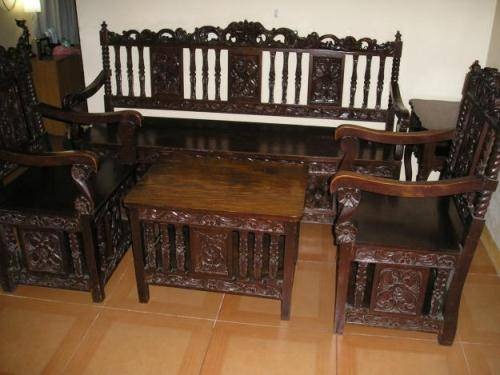 wood furniture designs sala set photo - 1