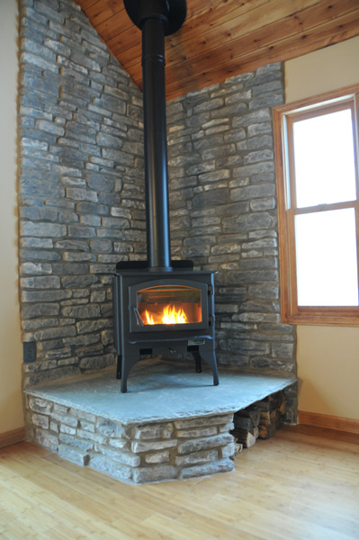 wood stove wall design ideas photo - 2