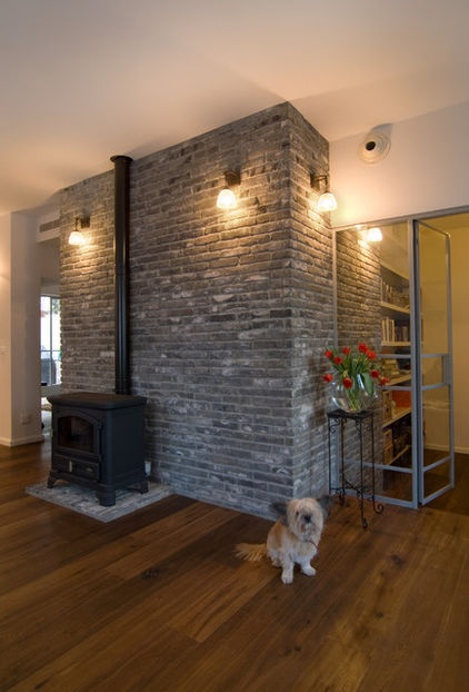 wood stove wall design ideas photo - 6