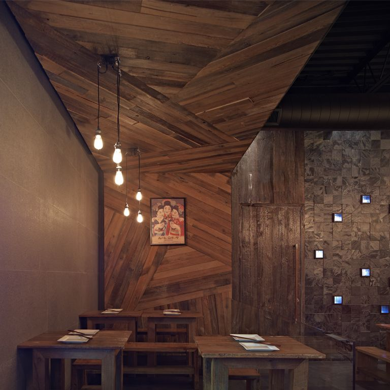wood wall interior design photo - 2