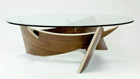 wooden coffee table designs with glass top photo - 1