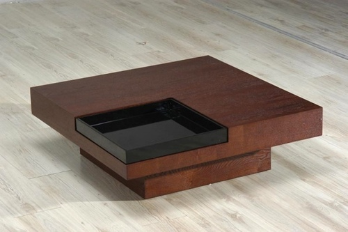 wooden coffee table designs with glass top photo - 2