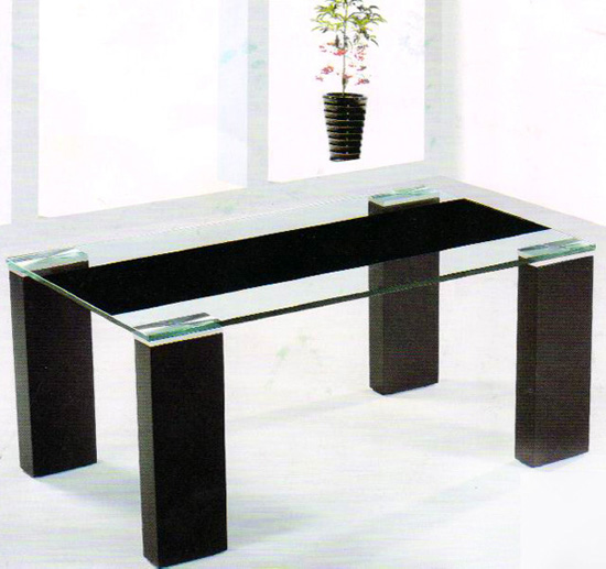 wooden coffee table designs with glass top photo - 4
