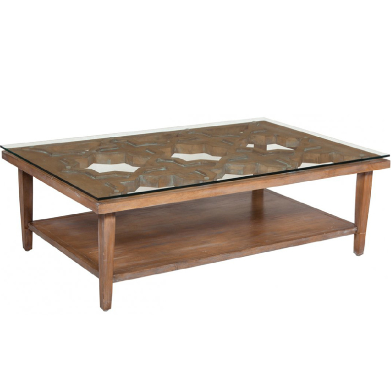 wooden coffee table glass top photo - 2
