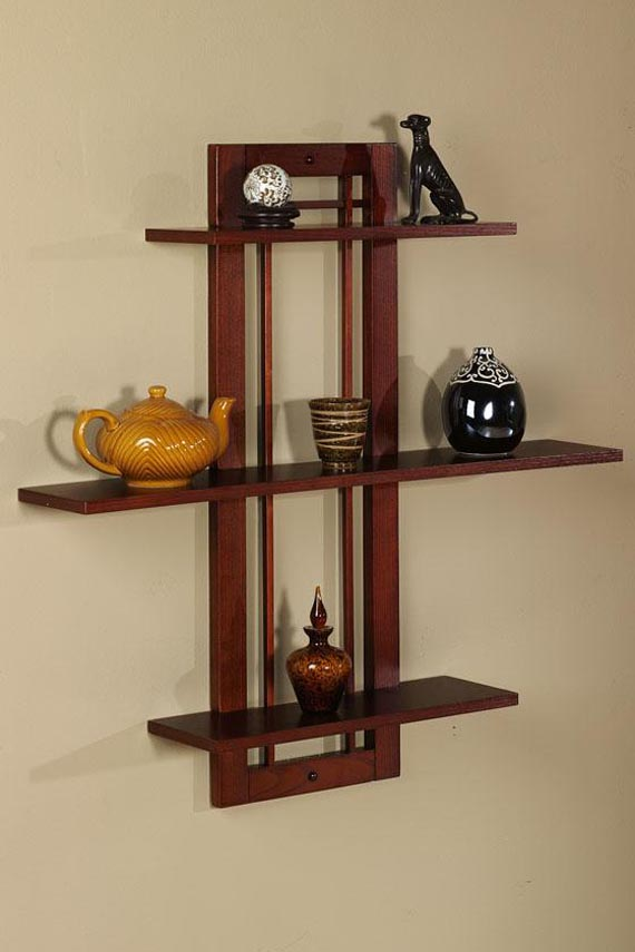 Wooden Wall Rack Designs wooden wall shelves design photo 8 Furniture Appealing Wooden Wall Hanging Bookcase Design With Four