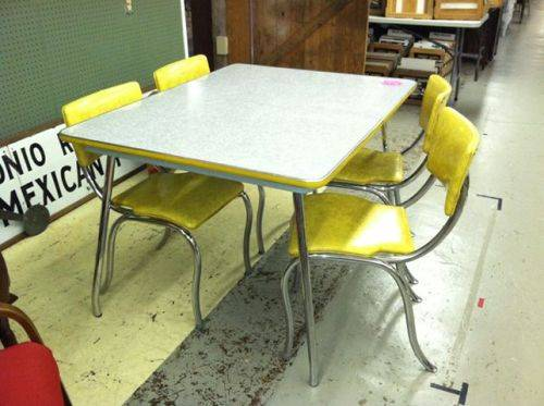 yellow retro kitchen table chairs photo - 1