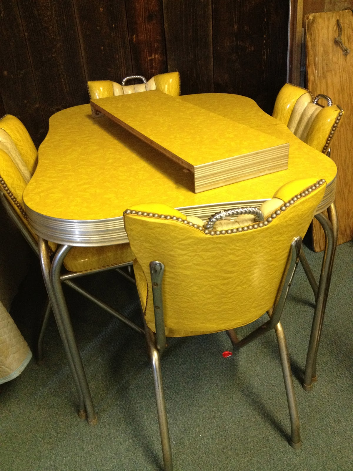 Yellow retro kitchen table chairs
