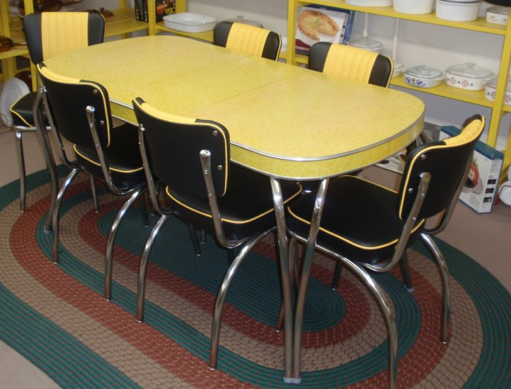 yellow retro kitchen table chairs photo - 4