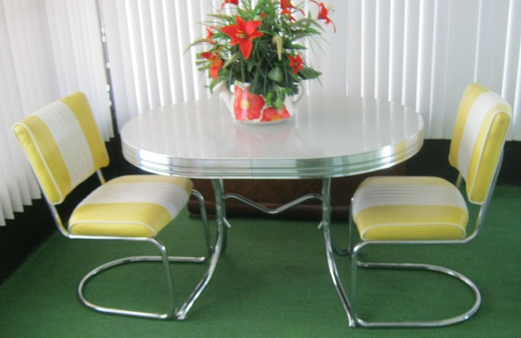 yellow retro kitchen table chairs photo - 6