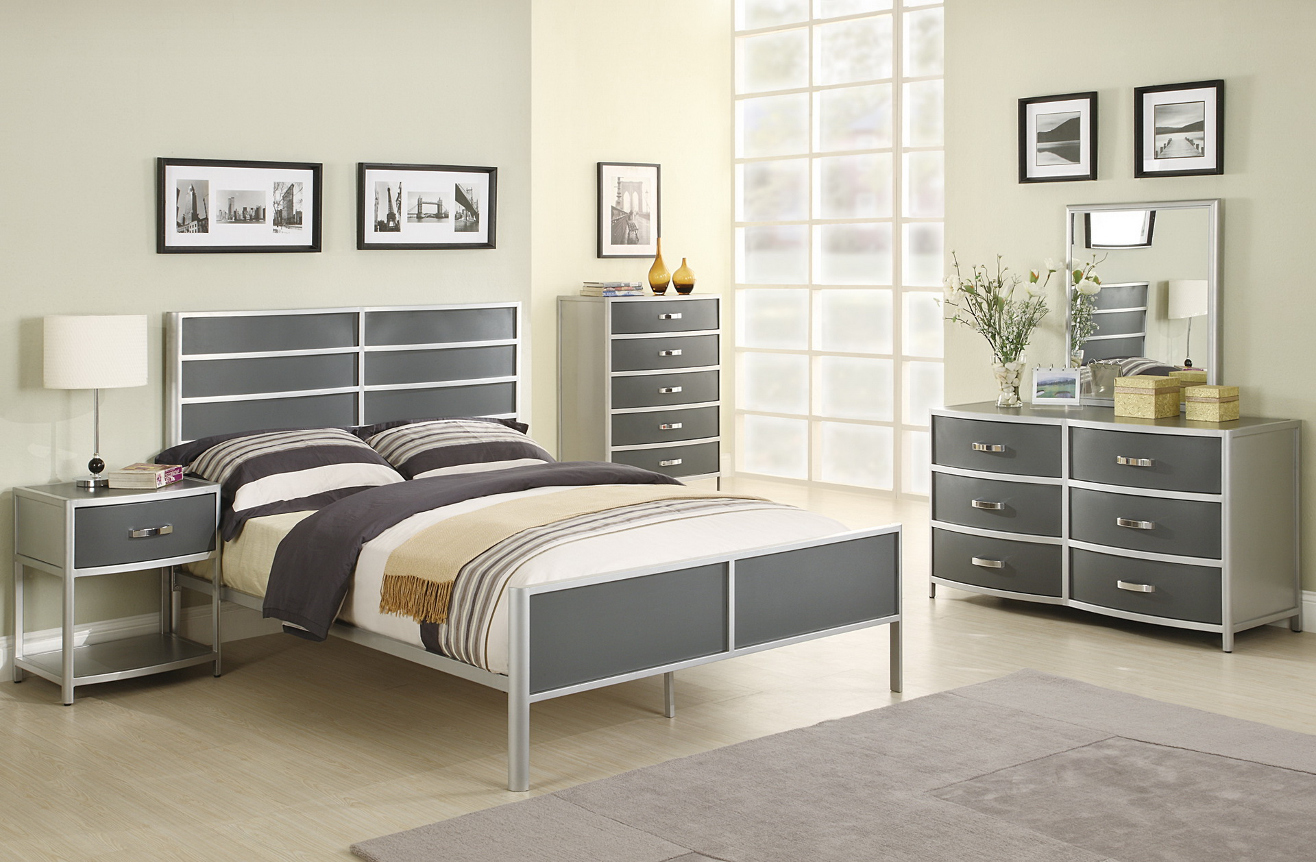 silver bedroom furniture sets reflect a clean and 13152 | silver bedroom furniture sets photo 8